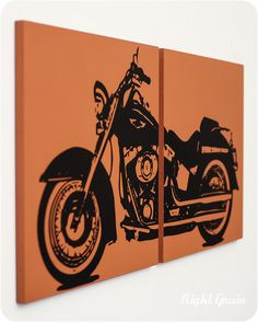 Wall Art Motorcycle Painting  12x24 Screenprint of by RightGrain, $45.00