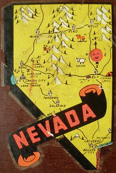 Nevada Decal from an old container with all these travel decals.