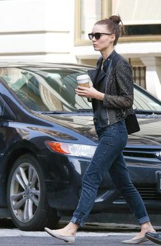 Rooney Mara (celebrity): hair up + shades + leather jacket + folded jeans + flats : Street Style