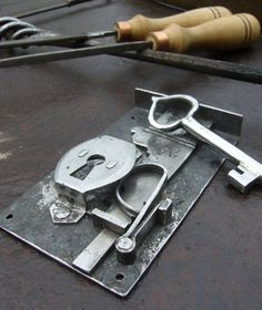 Hand Forged double turn lock with key - cabinet drawer