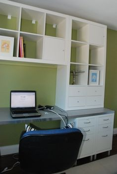 built in L shape desk with floating shelves - Google Search