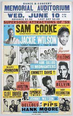 """Sam Cooke & Jackie Wilson - Memorial Auditorium, Chattanooga"" Art Print Taken From A Vintage Concert Poster from Andromeda Print Emporium Rock Posters, Band Posters, History Posters, Event Posters, Poster Art, Poster Design, Flyer Design, Graphic Design, Vintage Rock"