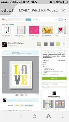 Grey / yellow 'LOVE' etsy