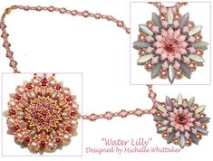 Water Lilly Pendant & Necklace Needlework Tutorial PDF