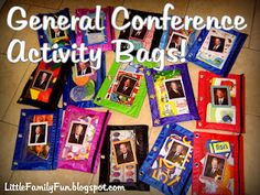 General Conference Activity Bags. Let your child do a different quiet activity during each speaker's talk!