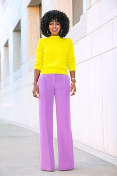 Page 3 – Daily outfits from Folake Kuye Huntoon Color Blocking Outfits, Color Combinations For Clothes, Colourful Outfits, Colorful Fashion, Purple Pants Outfit, Slacks Outfit, Yellow Pants, Fashion Pants, Fashion Outfits