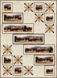 Bison at the Border Quilt Pattern PC-209 Combine piecing with a new way to use border print in this lap quilt.