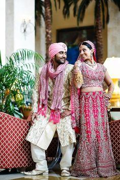 indian-wedding-bride-and-groom-portrait-pink-lengha-pink-turban #indianwedding