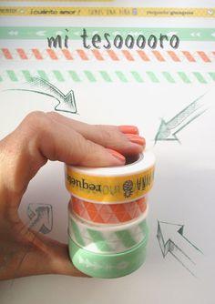 washi tape de la marca Escrap a juego con la colección de Triquiñuelas. Cuator modelos preciosos.