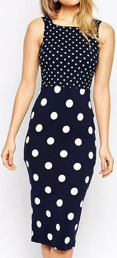 Navy Polka Dot Bodycon Dress ❤︎