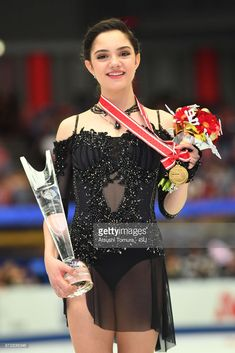 Evgenia Medvedeva of Russia poses with her gold medal during the ISU Grand Prix of Figure Skating at on November 11, 2017 in Osaka, Japan.