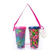 Lilly Pulitzer Insulated Tumbler with Lid Set, Wild Confetti / Lilly's Lagoon