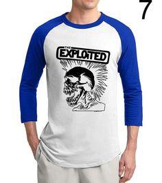 91c2c348 HAMPSON LANQE THE EXPLOITED SKULL 3/4 Sleeves T-Shirt 100% Cotton Raglan. Mens  Tee ShirtsT ...