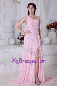 2013 Rose Pink One Shoulder Beading Prom Dresses with Watteau Train and Slit