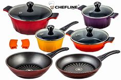 Swiss Inspired Cheflline Diamond Frying Pan NonStick  Ceramic Pot Set 12 piece *** More info could be found at the image url.