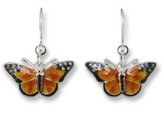 SOLD OUT - Monarch Butterfly Enamel & Sterling Silver Dangle Earrings by Zarah *RETIRED*