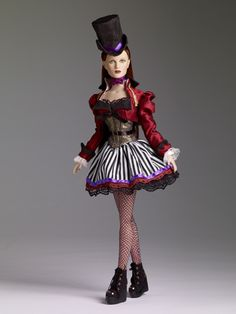 Sinister Circus Dark Mistress fall 2013 Tonner $239.99. That price makes me cry, but then it doesn't because I don't love her really. I wish I could have gotten the ring mistress instead. Tonner is pricing me out as much as Wilde is.