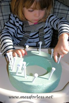 Fine Motor Work with Golf Tees | Mess For Less