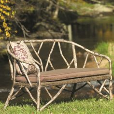 Woodard River Run Faux Bois Loveseat with Cushions Fabric: Sunbrella Beachball Bluestone