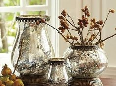 Make your vases look like Mercury glass by spritzing them with water, then spraying with Krylon looking glass spray paint