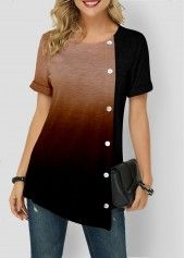 Women'S Purple Tunic Casual T Shirt Color Block Short Sleeve Blouse Gardient Asymmetric Hem Button Detail Round Neck Top By Rosewe Gradient Asymmetric Stylish Tops For Girls, Trendy Tops For Women, Pull Long, Trendy Fashion, Womens Fashion, Fashion Outfits, Printed Blouse, Paisley, Tunic Tops