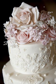 So gorgeous  -  Three tier ivory and pink lace rose cake by elizabethscakeemporium, via Flickr