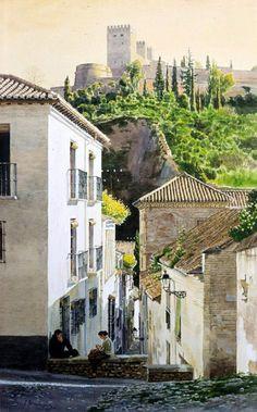 Calle Zafra (Al fondo la Alhambra de Granada) // España Spanish Painters, Spanish Artists, Art Watercolor, Watercolor Landscape, Watercolor Architecture, Art And Architecture, Alhambra Spain, Monuments, Soul Art