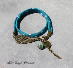 Bijou créateur - Bracelet bronze cordon liberty étoile turquoise Intercalaire plume antique breloque sequin et perle facette : Bracelet par alextreize-creation