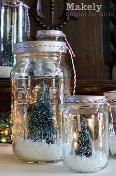 DIY Upcycled Jar Christmas Tree Snow Globes