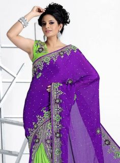 Purple and green wedding sari in faux chiffon fabric
