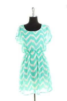 Aqua White Chevron Print Flutter Sleeve Spring Easter Dress Womans Small New | eBay