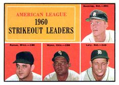 1961 Topps #50 AL 1960 Strikeout Leaders - Jim Bunning / Frank Lary / Pedro Ramos / Early Wynn Front