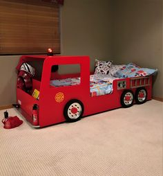 Fire Truck Bed PLANS (pdf format), Create a Fireman Themed Bedroom for your Child, Perfect for the DIY Woodworking Enthusiast Bedroom Themes, Kids Bedroom, Bedroom Decor, Bedroom Ideas, Bed Ideas, Truck Bed Mattress, Fire Truck Bedroom, Fire Truck Beds, Tractor Bed