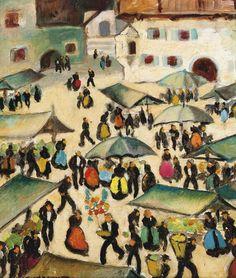 HERBERT GURSCHNER (1901-1975) MARKTTAG Happy New Week, Fine Art Auctions, Postmodernism, Figurative Art, Instagram, Oil Paintings, Oil On Canvas, Post Modern History, Postmodern Literature