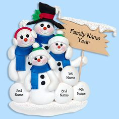 Snowman Family of 4 HANDMADE POLYMER CLAY Personalized Christmas Ornament
