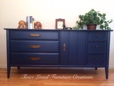 Mid Century dresser painted navy blue by Twice Loved Furniture Creations