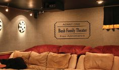 Vinyl Wall Decal: Large movie ticket for home theater. Aprox size is 15 x 30. other sizes available to purchase here: xlrg: https://www.etsy.com/listing/126609771/wall-decal-home-theater-movie-ticket  {ABOUT OUR WALL GRAPHICS}  Easy and ready to apply, this removable work of art will look as if it took an artist hours to complete; only you will be the wiser!  This Vinyl Wall Decal is made with high quality MATTE vinyl and will last a long time. The decal has the appearance and thickness of…