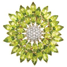 Two-Color Gold, Diamond and Peridot Flower Clip-Brooch, Asprey