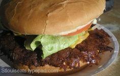 Carl's Double Hamburger from Carl's Drive Inn   http://www.chowzter.com/fast-feasts/north-america/St.%20Louis/review/Carls-Drive-Inn/Carls-Double-Hamburger/4610_4625