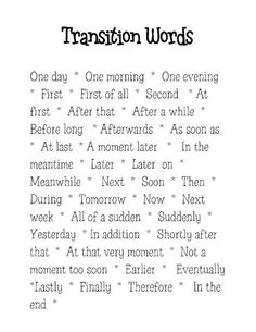 Transition words for narrative writing are different than those used for expository writing. I would do a mini lesson on narrative transition words, and I would have students keep this in their writing folders as a reference source. Writing Words, Writing Lessons, Writing Resources, Teaching Writing, Writing Skills, Writing Activities, Writing A Book, Writing Tips, Paragraph Writing