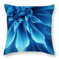 "Ice Blue Dahlia Throw Pillow 14"" x 14"""