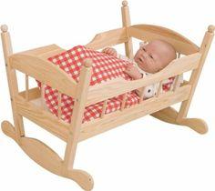 PUPPENBETT BETT WIEGE PUPPENWIEGE für PUPPE PUPPEN HOLZ WOODY Holzspielzeug