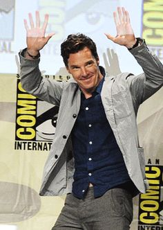 Benedict Cumberbatch at San Diego Comic Con on Dreamworks Animation panel to promote PENGUINS OF MADAGASCAR. July 24, 2014.