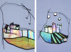 Wall Art - Stained Glass made with scrap pieces into scenery! Cool!