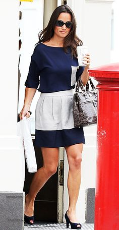 Pippa Middleton went shopping in an on-trend color-blocked outfit. She accented her navy and gray look with her namesake Modalu bag in brown-gray crocodile.