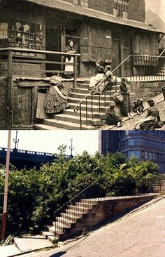 How times change in Newcastle, England. Same spot 1903 and 1990.
