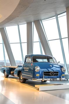 """This special high-speed transporter for racing cars, also called the """"Blue Wonder"""", was a one-of-a-kind specimen built by the Mercedes-Benz testing department. As the original no longer exists, the vehicle was completely reconstructed. Some Facts? 3.0 Liter, 6 cylinder, 191 hp, top speed 170 km/h / 106 mph!"""