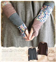 Japanese forest style Cawaii vintage patchwork mix match plus velvet long-sleeve T-shirt basic shirt mori girl kimono shirt