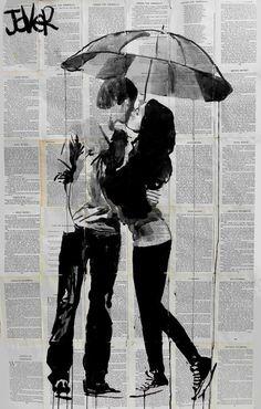 "Saatchi Art Artist: Loui Jover; Ink 2013 Drawing ""under the umbrella"""