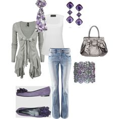 cute! grey & light purple